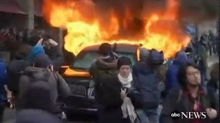 flushyoutube.com-Limo Set on Fire at Trump Inauguration Parade: CAUGHT ON TAPE