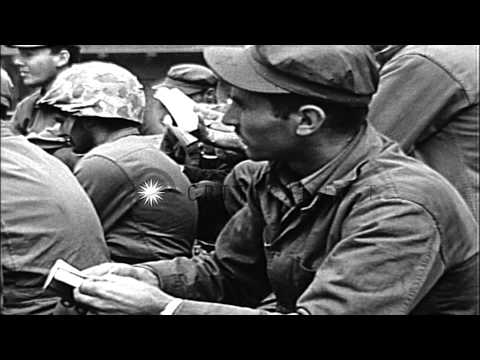 Rabbi Chaplain Gittelsohn conducts services for Jewish Marines on Iwo Jima in Wor...HD Stock Footage
