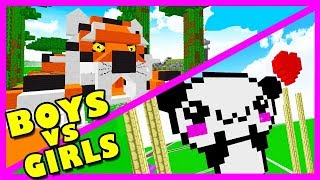 BOY VS GIRL | ANIMAL BASE BUILD CHALLENGE! Minecraft Little Kelly