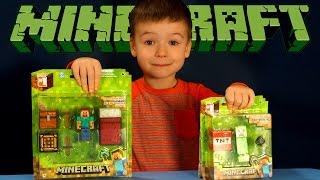 Игрушки Майнкрафт. Стив - набор для выживания и Крипер. Minecraft Toys - Creeper and Steve