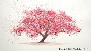 getlinkyoutube.com-How to Paint a Cherry Tree in Watercolor -  Splatter Painting Trees - Paint a Tree - Sakura