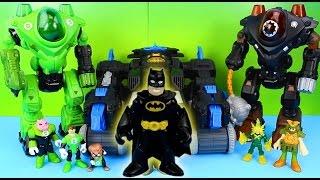 getlinkyoutube.com-Imaginext Batman Batbot saves Green Lantern from Electro Gotham City Police take Bad Guys to jail