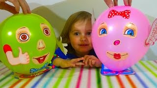 getlinkyoutube.com-Шарики с глазками надуваем глазки ротик ручки Balloons with eyes inflate sticking eyes mouth hands