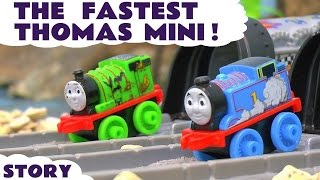 getlinkyoutube.com-Thomas and Friends Minis Racing - Toy Trains Race Story with Minis Blind Bags opening ToyTrains4u