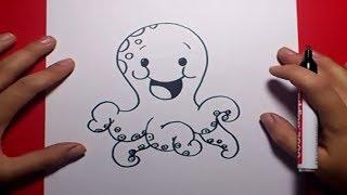 Como dibujar un pulpo paso a paso 2 | How to draw a octopus 2
