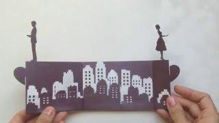 getlinkyoutube.com-Long Distance Love Story Pop Up Card Tutorial, Valentine's Day Kirigami | Free Pattern