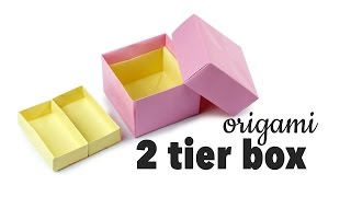 getlinkyoutube.com-Origami 2 Tier Box Tutorial ♥︎ DIY Storage Box ♥︎ Paper Kawaii