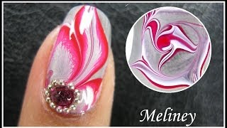 getlinkyoutube.com-WATER MARBLE NAIL ART TUTORIAL | ENCHANTED FOREST RED FLOWER FEATHER NAIL DESIGN MANICURE EASY DIY