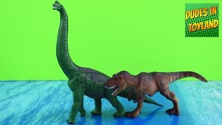 getlinkyoutube.com-Dinosaurs toys by Safari Ltd - T-rex and Brachiosaurus