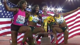 getlinkyoutube.com-American Women defeat Jamaica in 4x100m - Universal Sports