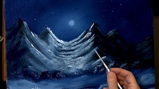 getlinkyoutube.com-Moonlit Mountain Painting With Acrylic