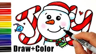 getlinkyoutube.com-How to Draw + Color Snowman Joy in Bubbble Letters step by step