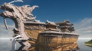 getlinkyoutube.com-【當個創世神】Minecraft我的世界中式建築 - 墨家殸龍船 & 機關城