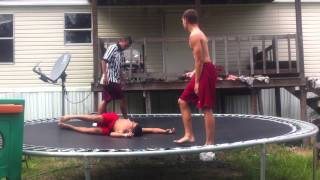 getlinkyoutube.com-Trampoline Wrestling: KBW- KAGE vs CJ TABLES MATCH (Title)