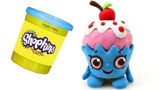 getlinkyoutube.com-New SHOPKINS Cherry Cake Play doh Claymation - STOP MOTION Juguetes Animación