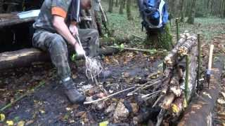 getlinkyoutube.com-Awesome Bushcraft Day : Waterproof Raised Bed Shelter, Fire, Tea and Eggs