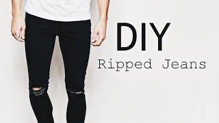 getlinkyoutube.com-DIY Ripped Jeans | OOTD Men's Fashion Street Style | SuperWednesday ✂️