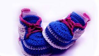 getlinkyoutube.com-Сrochet baby sneakers //Vasilisa