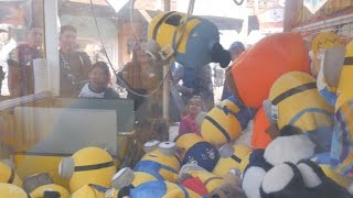 Giant minion win from the giant claw machine at Pier 39, San Francisco!