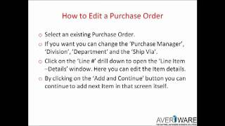 Averiware Direct Purchase Order