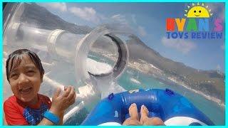 getlinkyoutube.com-FAMILY FUN TRIP RollerCoaster Water Slide SPLASH PAD for kids Disney Cruise Fantasy AquaDuck