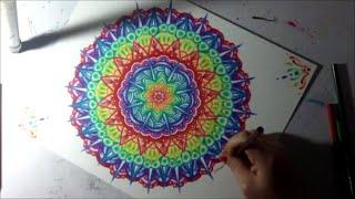 getlinkyoutube.com-Rainbow Mandala Colored Pencil Drawing Time Lapse Geometric Art