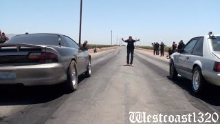 getlinkyoutube.com-Built, Nitrous 6 Speed Camaro vs LS Supercharged Mustang (All Out Street Car Shootout)