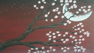 getlinkyoutube.com-Acrylic Painting -Cherry Blossom Moon Speedpainting