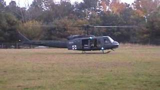 Bell Huey UH-1 Helicopter Start up Dust off
