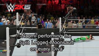 getlinkyoutube.com-WWE 2K15 (PS4) Naomi Performing The Split legged Moonsault On Every Diva