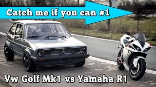 getlinkyoutube.com-VW Golf Mk1 1056HP vs Yamaha R1 182HP street race Full Version CMIYC#1