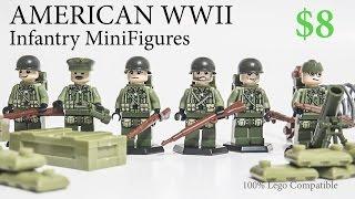 getlinkyoutube.com-Lego WW2 American Army European Theater Minifigure with Brickarms Toy Guns Review