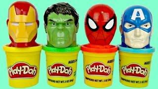 getlinkyoutube.com-SUPERHERO Play-doh Toy Suprises, Candy Dispenser, Ironman Spiderman, Hulk Captain America IRL / TUYC