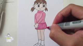 getlinkyoutube.com-How to draw Shizuka from Doraemon 静ちゃん