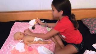 getlinkyoutube.com-Powdering and Changing Full Body Silicone Baby Doll Sabrina PART 1