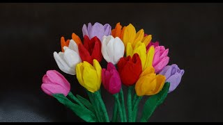 getlinkyoutube.com-How to make beautiful paper tulip flowers / DIY Mother's day craft