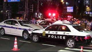 getlinkyoutube.com-交通事故!!正面衝突!!警視庁パトカー タクシーに突っ込まれる!!東京 新橋 Japanese Police Car Traffic accident 2014.9.17