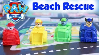 getlinkyoutube.com-Paw Patrol Beach Rescue Game and Spy Chase Racer EMT Marshall Racer