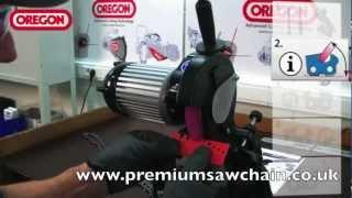 getlinkyoutube.com-Oregon 542654 X Chain Hydraulic Assist Grinder Demo