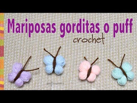 Mariposas gorditas o puff tejidas a crochet - Tejiendo Perú!