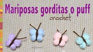getlinkyoutube.com-Mariposas gorditas o puff tejidas a crochet paso a paso en minutos!