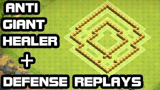 getlinkyoutube.com-Clash of Clans Townhall 5 ANTI Giant Healer DEFENSE  + REPLAY TH5 Trophy Base & Hybrid Base