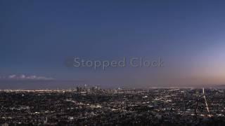 STOCK FOOTAGE - LA City Skyline Sunset Time Lapse 4K