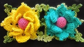 getlinkyoutube.com-Объёмный цветок в квадрате Volumetric flower squared Crocheting