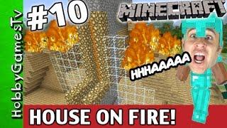 getlinkyoutube.com-Minecraft HOUSE on FIRE! Diamond Armor Steve Xbox One HobbyDude World HobbyGamesTV