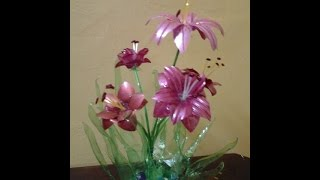 getlinkyoutube.com-Best Out Of Waste Plastic bottles transformed to lovely lily plant Showpiece