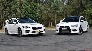 getlinkyoutube.com-2016 Subaru WRX STI vs Mitsubishi Lancer Evolution X: 0-100km/h, engine sound