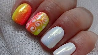 getlinkyoutube.com-White mermaid nails & Neon sunrise ombre - Biała syrenka i neonowy gradient
