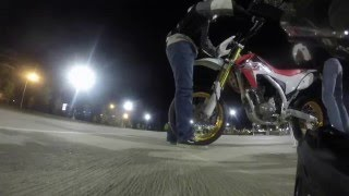 getlinkyoutube.com-Honda crf250l wheelie crash - street tires offroad...