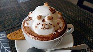 getlinkyoutube.com-INCREDIBLE 3D COFFEE ART - CUTEST COFFEE YOU'LL EVER SEE! Lion, Cat, Panda, Sleeping Bear